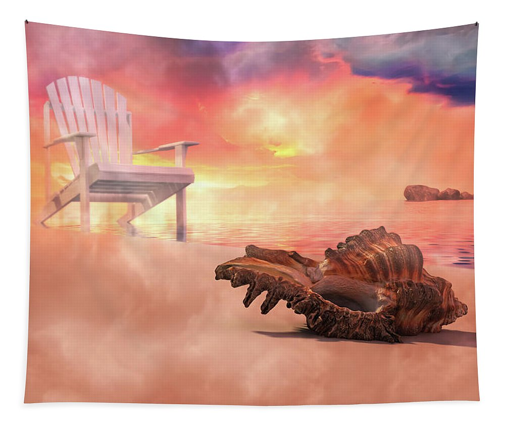 Beach Tapestry featuring the digital art Friends By The Sea 3d Render by Betsy Knapp