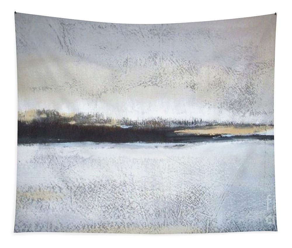 Landscape Tapestry featuring the painting Frozen Winter Lake by Vesna Antic