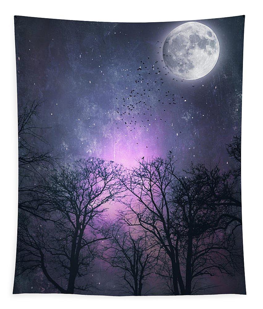 Full Moon Tapestry featuring the photograph Full Moon Night Magic by Dirk Wuestenhagen