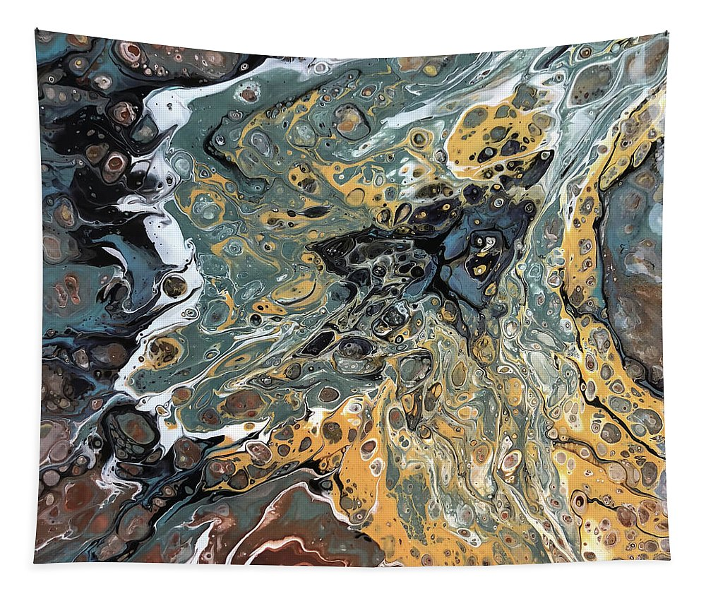 Acrylic Tapestry featuring the painting Fusion by Teresa Wilson