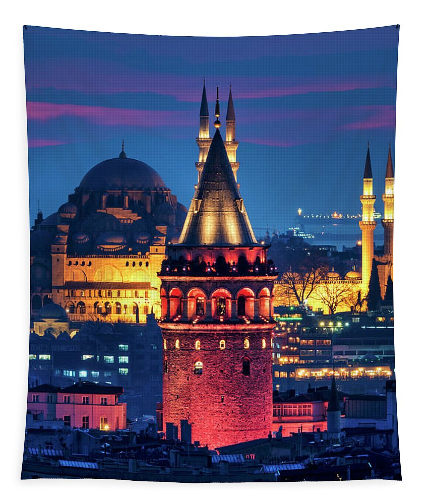 Galata Tapestry featuring the photograph Galata Tower And Suleymaniye Mosque by Fabrizio Troiani