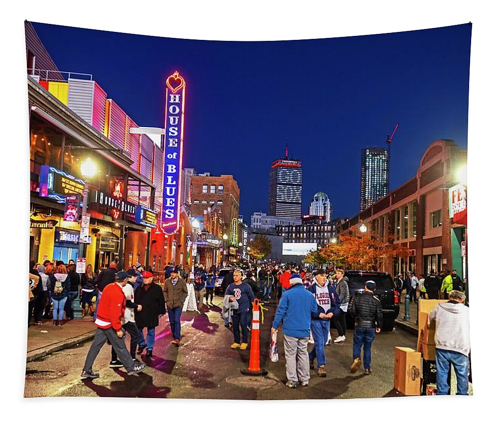 Boston Tapestry featuring the photograph Game Night On Lansdowne Street 2018 World Series Red Sox Boston Ma 2 by Toby McGuire