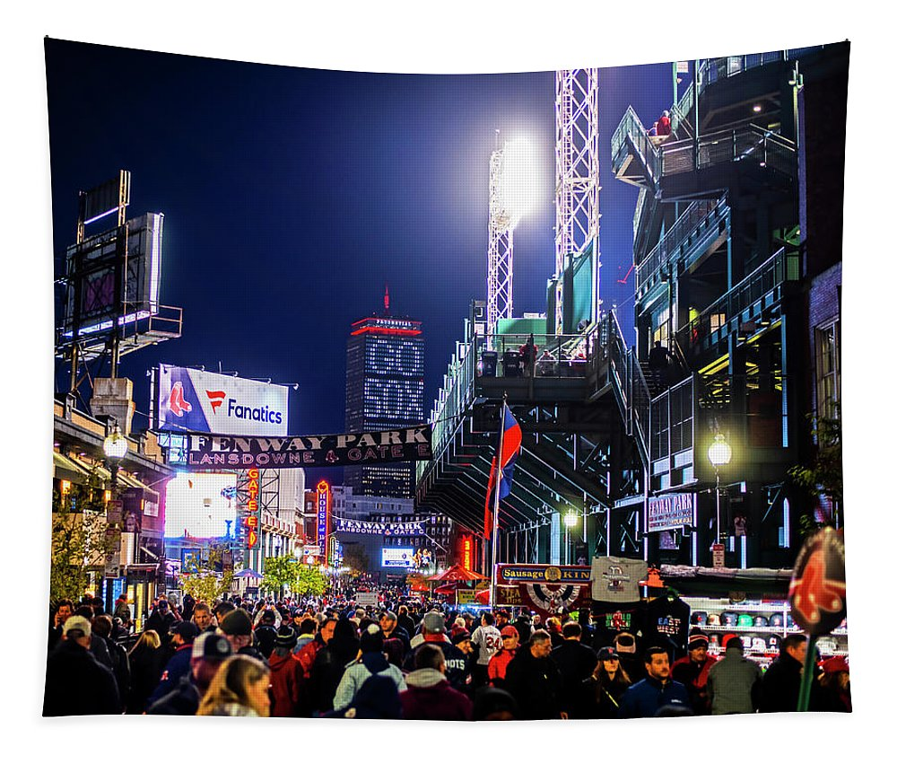 Boston Tapestry featuring the photograph Game Night On Lansdowne Street 2018 World Series Red Sox Boston Ma by Toby McGuire
