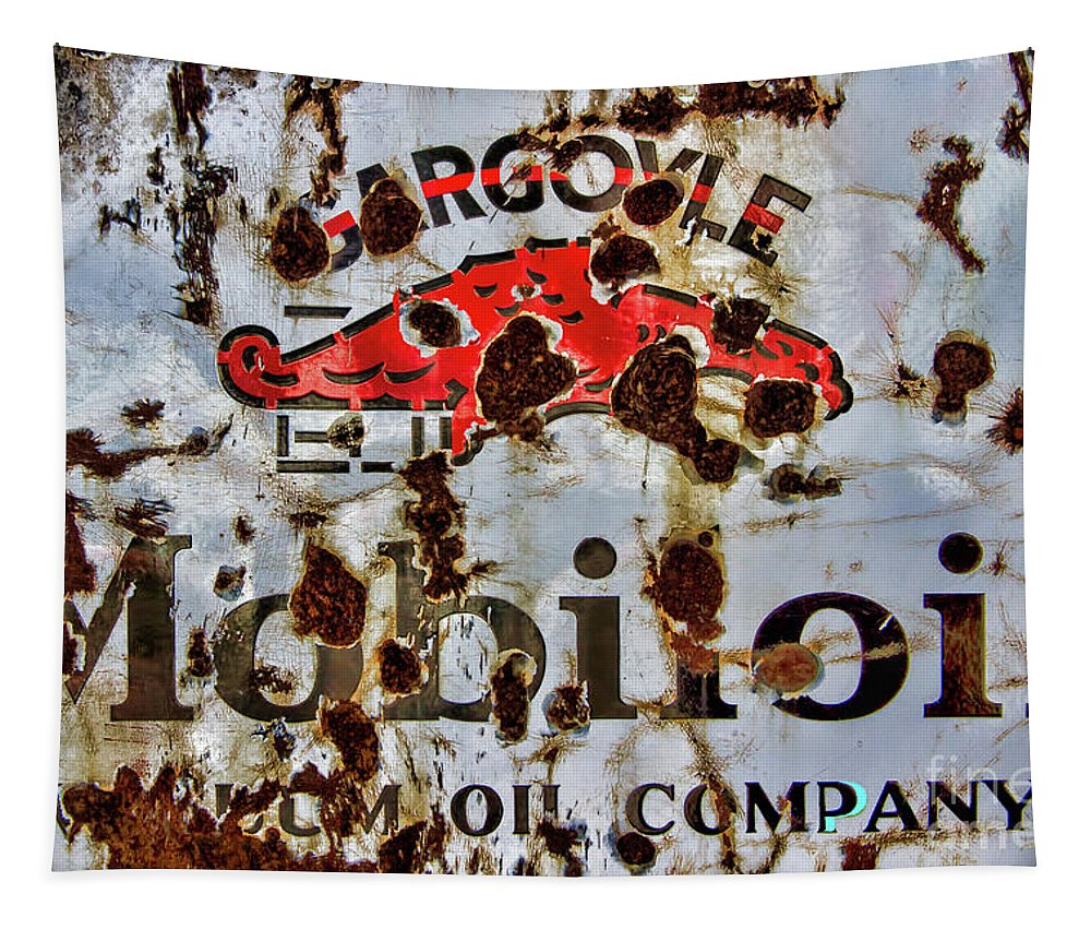 Gargoyle Tapestry featuring the photograph Gargoyle Mobiloil Vacuum Oil Co Rusty Sign by Nick Gray