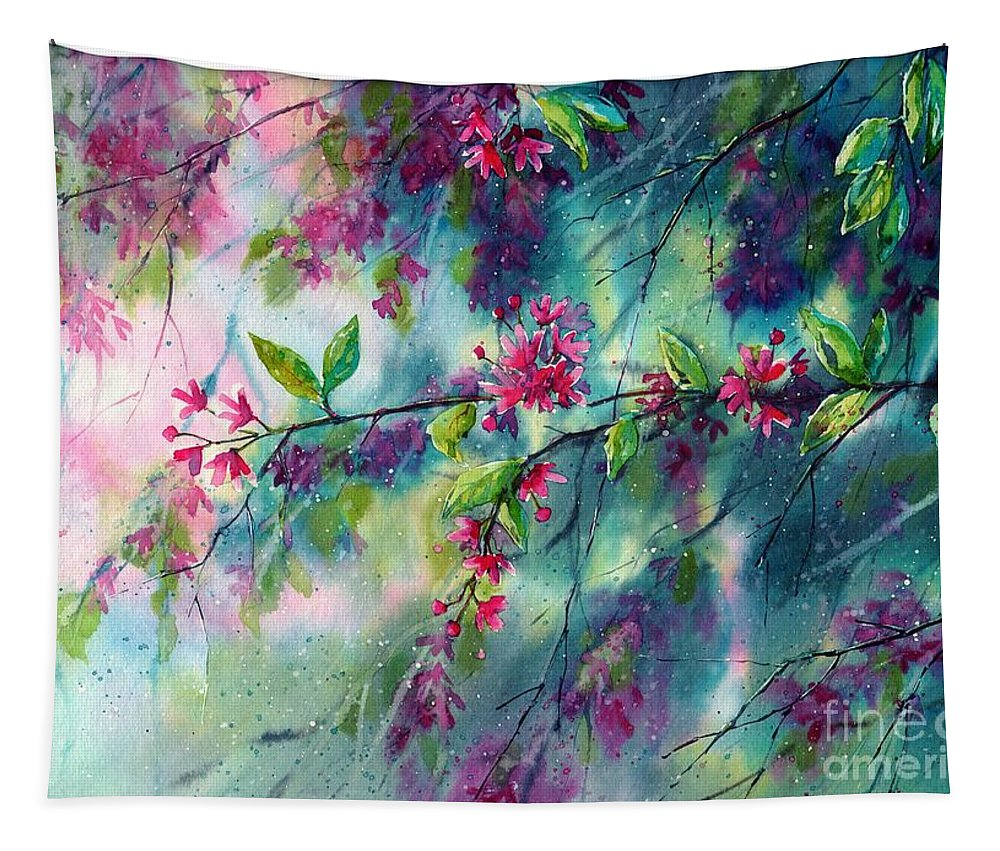 Blue Tapestry featuring the painting Garlands Full Of Flowers by Suzann Sines