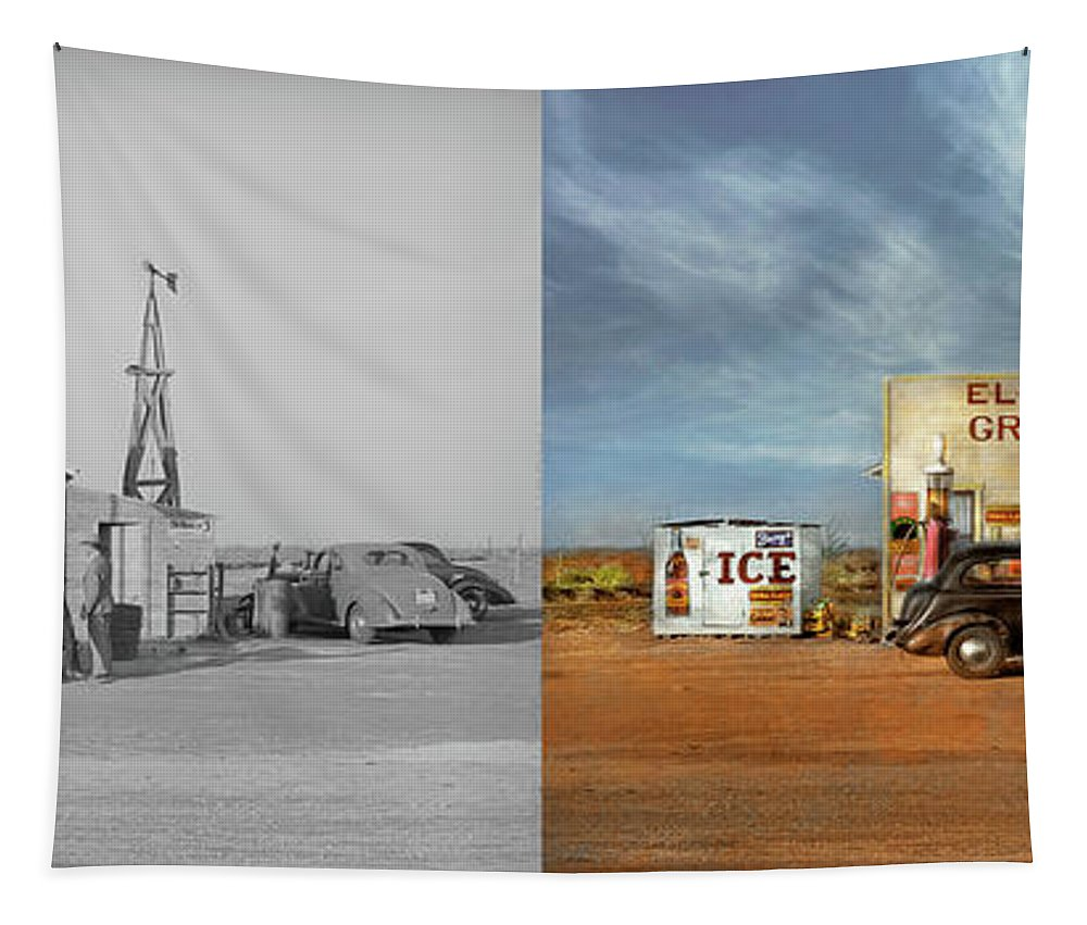 Dawson County Tapestry featuring the photograph Gas Station - In The Middle Of Nowhere 1940 - Side By Side by Mike Savad