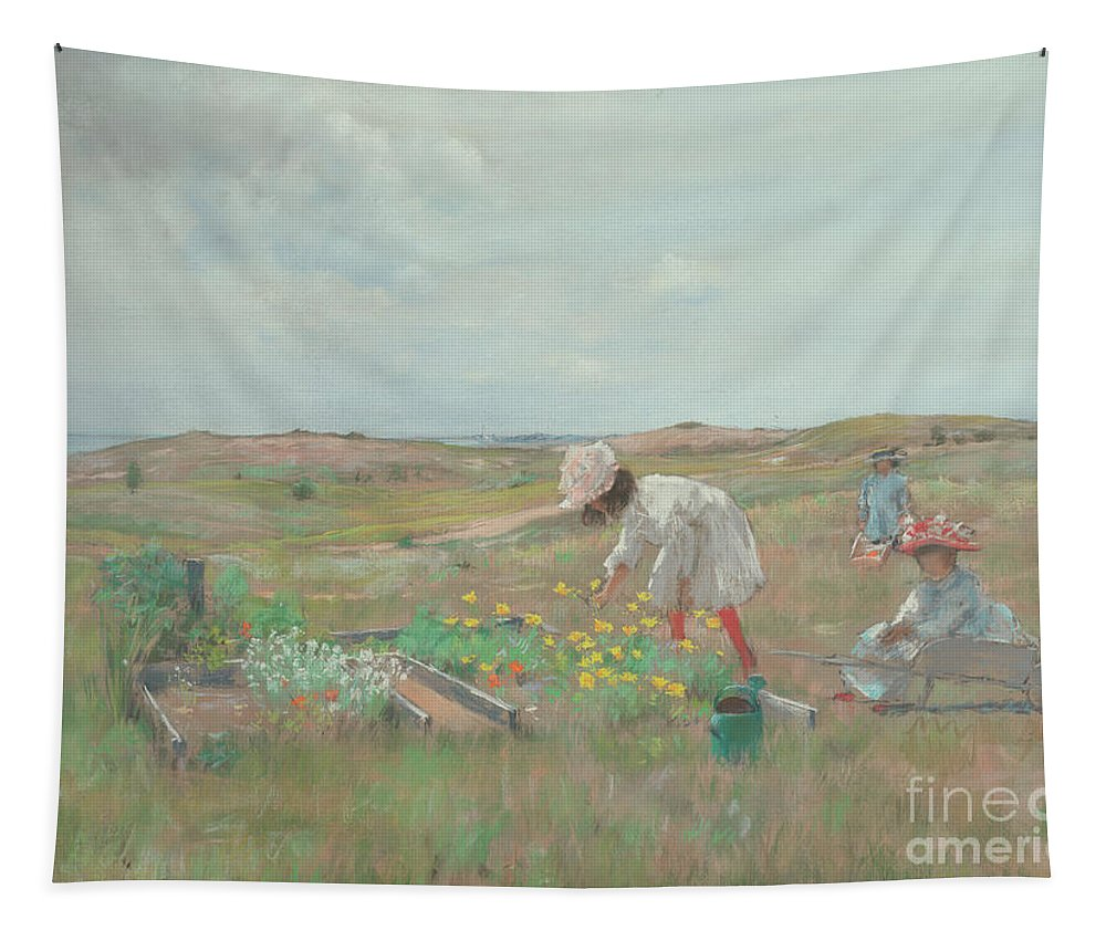 Chase Tapestry featuring the painting Gathering Flowers, Shinnecock, Long Island, 1897 by William Merritt Chase