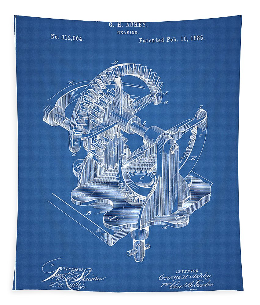 Gear Patent Design Tapestry featuring the drawing Gear Patent Design by Dan Sproul