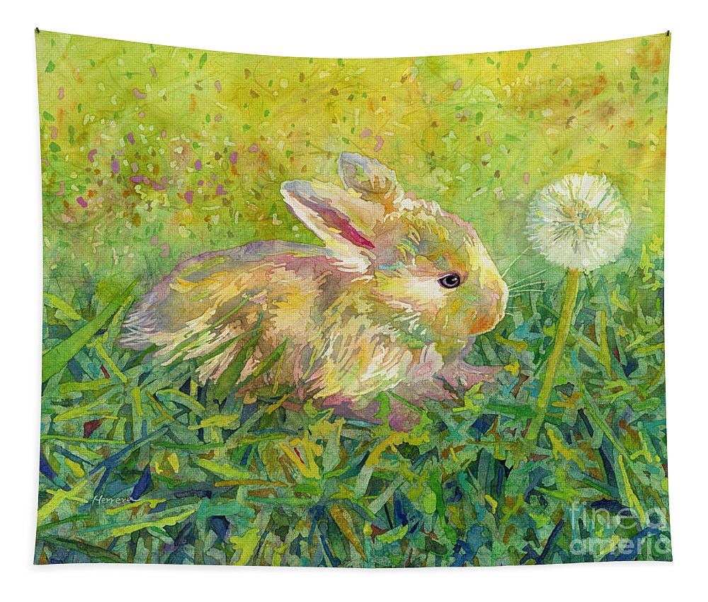 Rabbit Tapestry featuring the painting Gentle Wish by Hailey E Herrera