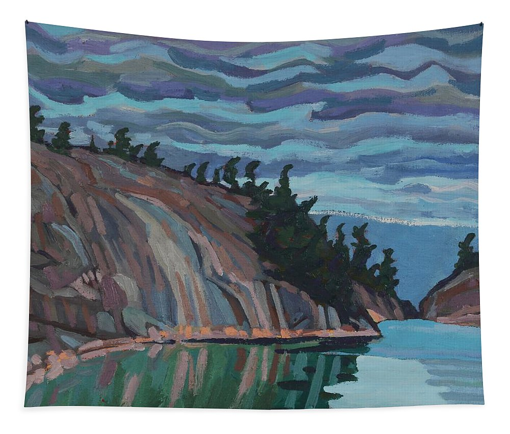 2130 Tapestry featuring the painting Gitchi-gami Cove Cliff by Phil Chadwick