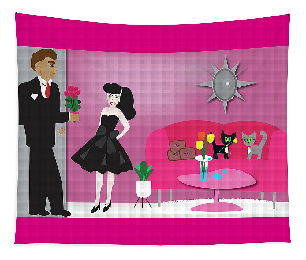 Woman And Man Dressed Up For Date Tapestry featuring the digital art Giving flowers by Barbara Bullington