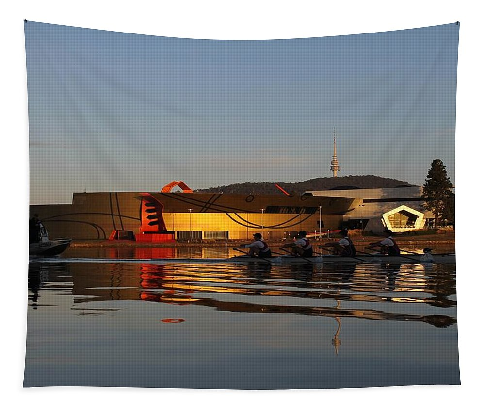 Rower Tapestry featuring the photograph Golden Dawn by Anthony Croke
