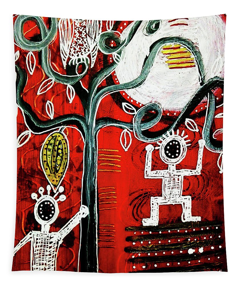 Fruit Tapestry featuring the mixed media Golden Fruit by Mimulux patricia No