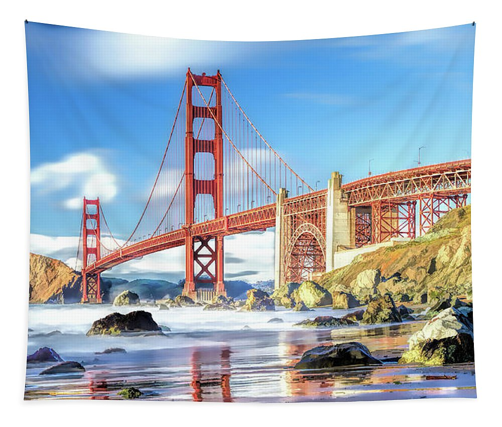 Golden Gate Bridge Tapestry featuring the painting Golden Gate Bridge In San Francisco by Christopher Arndt