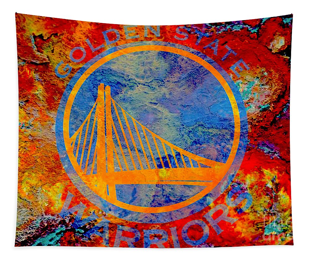 Nba Tapestry featuring the digital art Golden State Warriors by Steven Parker