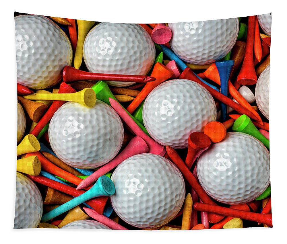 Golf Ball Tapestry featuring the photograph Golf Balls And Colorful Tees by Garry Gay