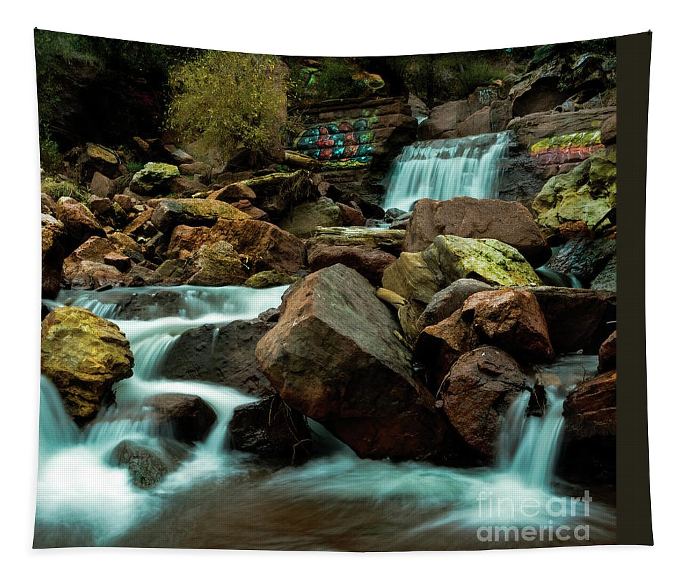 Rainbow Falls Tapestry featuring the photograph Graffiti Falls by Keenan Goodson