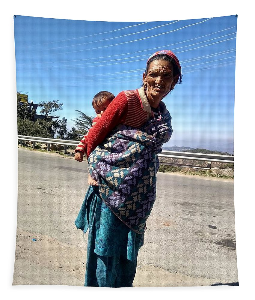Tapestry featuring the photograph Grandchild And Grandmother Shimla Himachal Pradesh by Nimu Bajaj and Seema Devjani