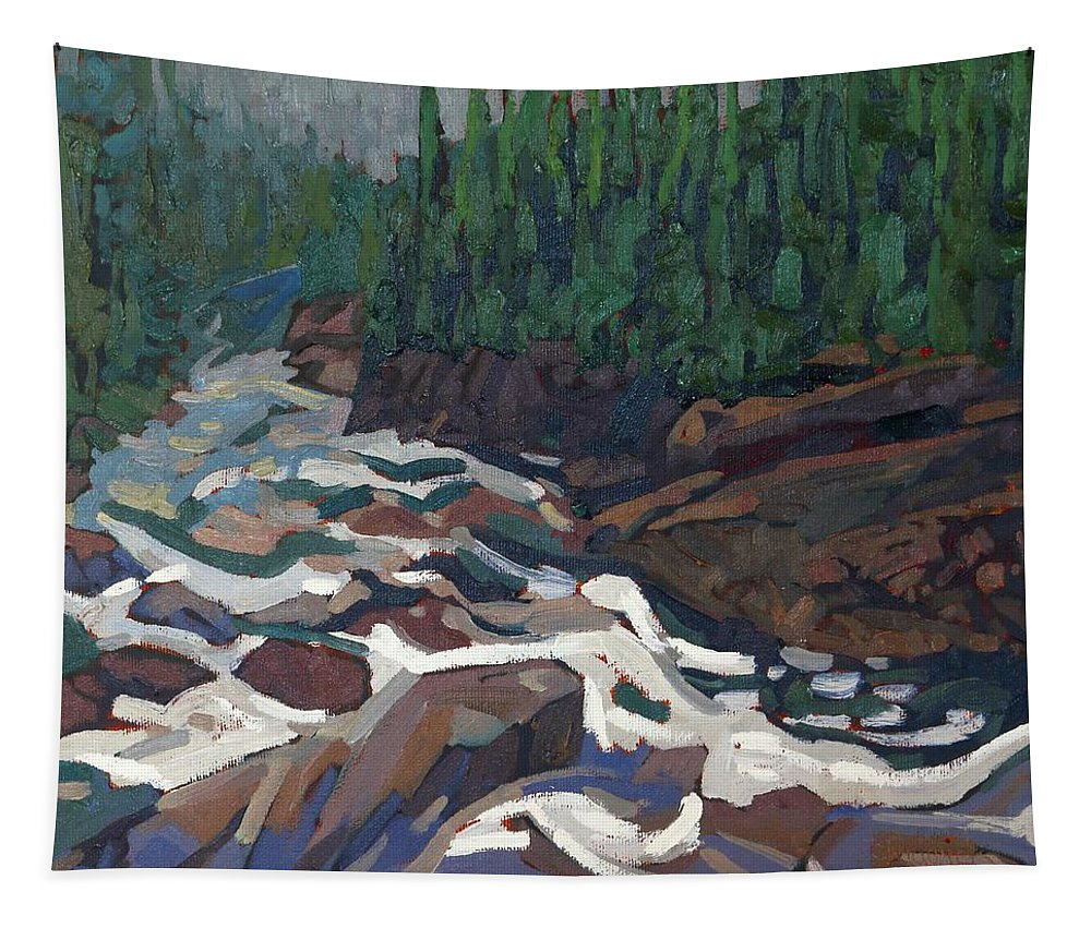 2142 Tapestry featuring the painting Grande Chute Morning Light by Phil Chadwick
