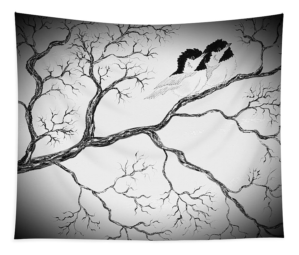 Grayscale Tapestry featuring the painting Grayscale Love Birds Dark by Angela Whitehouse
