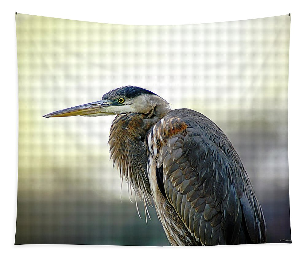2d Tapestry featuring the photograph Great Blue Heron Portrait by Brian Wallace