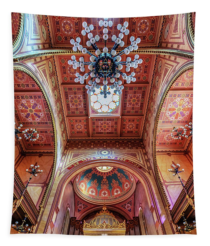 Synagogue Tapestry featuring the photograph Great Synagogue, Budapest Hungary by Delphimages Photo Creations