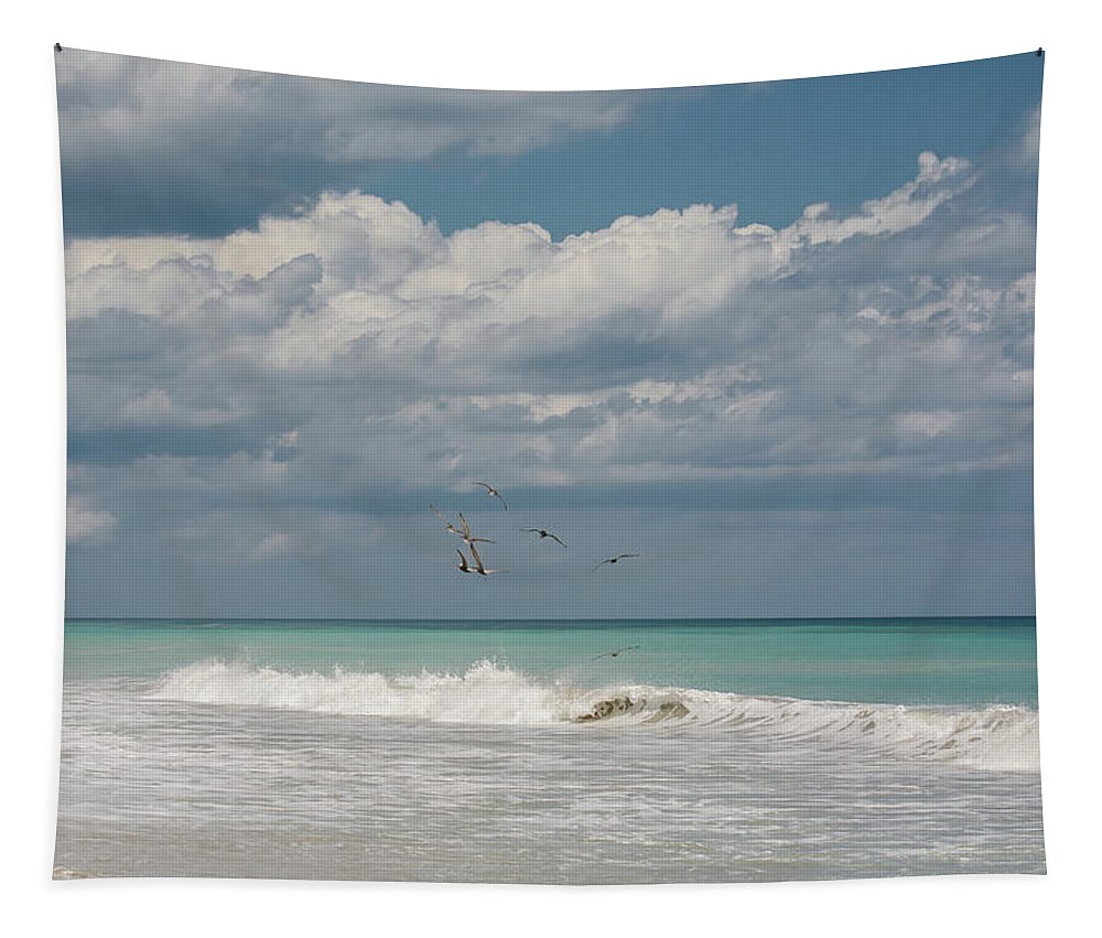 Ocean Tapestry featuring the photograph Group Of Pelicans Above The Ocean by Zina Stromberg
