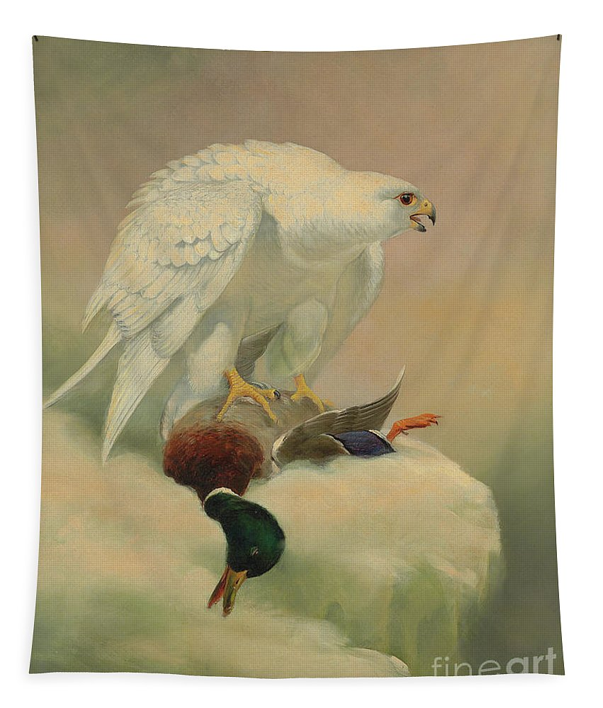 Gyrfalcon Tapestry featuring the painting Gyrfalcon And Mallard by Joseph Wolf