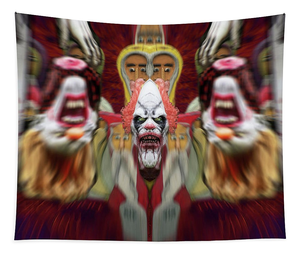 Tapestry featuring the photograph Halloween Scary Clown Heads Mirrored by Thomas Woolworth