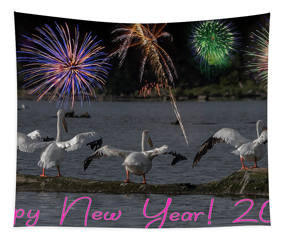 Happy New Year Tapestry featuring the photograph Happy New Year 2019 - Four Pelicans by Patti Deters