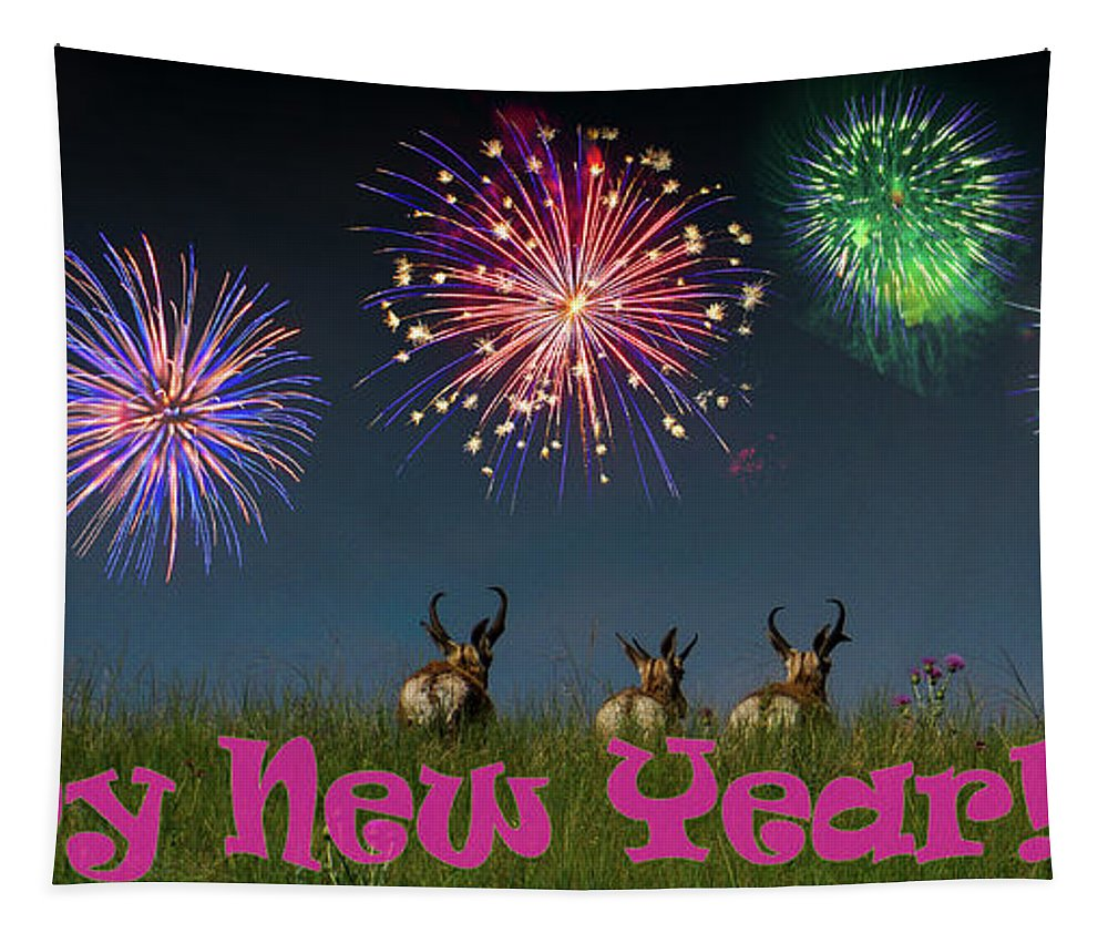 Happy New Year Tapestry featuring the photograph Happy New Year 2019 - Three Pronghorn Antelope by Patti Deters