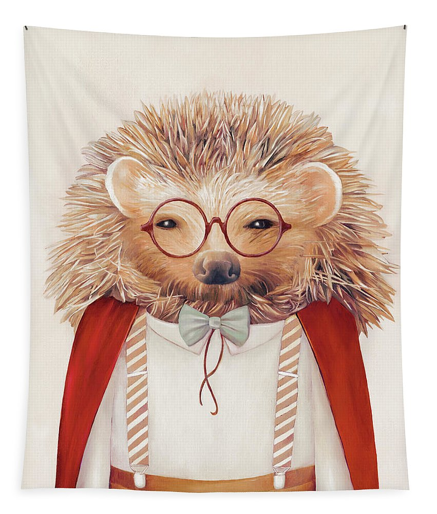 Hedgehog Tapestry featuring the painting Harry Hedgehog by Animal Crew