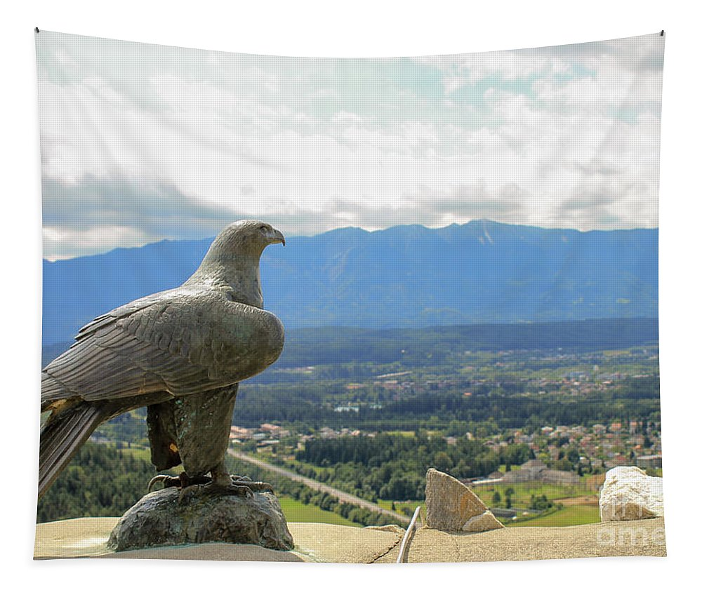 Valley Tapestry featuring the photograph Hawk Overseeing Village. by Raymond De la Croix