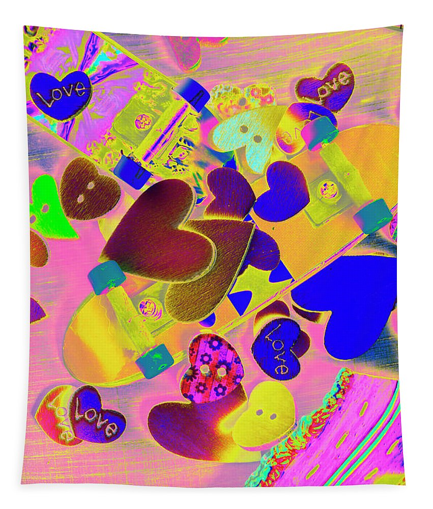Funky Tapestry featuring the photograph Heart Stack - Fallen For Sk8 by Jorgo Photography - Wall Art Gallery