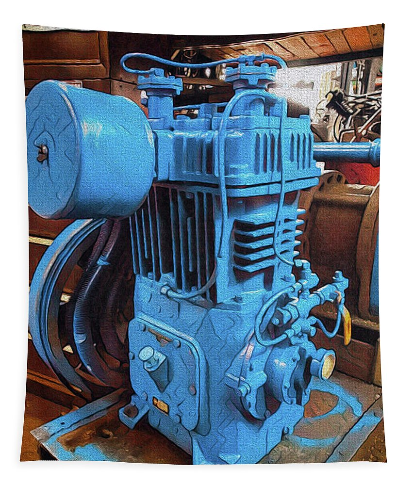 Industrial Tapestry featuring the mixed media Heavy Duty Machine by Robert Margetts