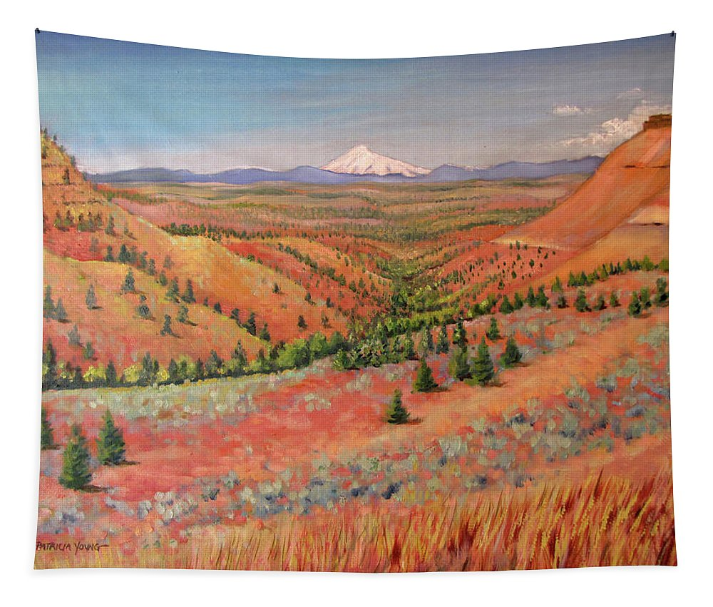 Oil Painting Tapestry featuring the painting High Desert View - Mt. Hood by Patricia Young