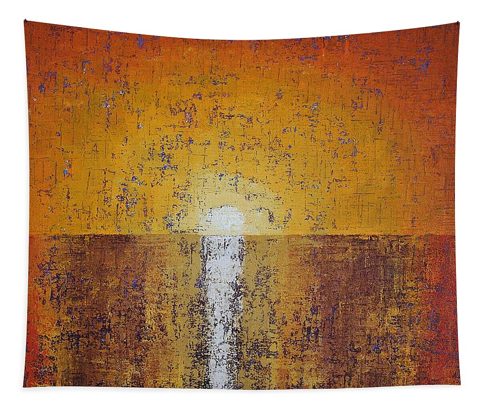 Hilton Head Tapestry featuring the painting Hilton Head Sunrise Original Painting by Sol Luckman
