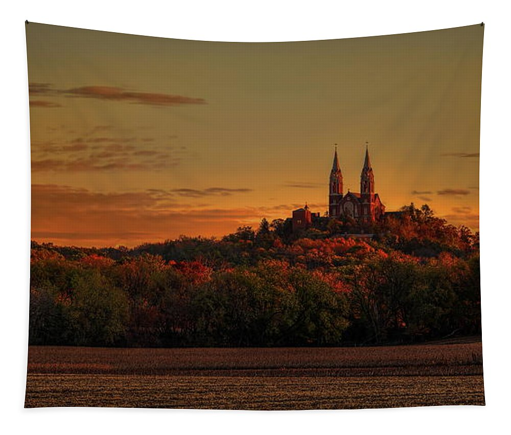 Church Tapestry featuring the photograph Holy Hill Sunrise Panorama by Dale Kauzlaric