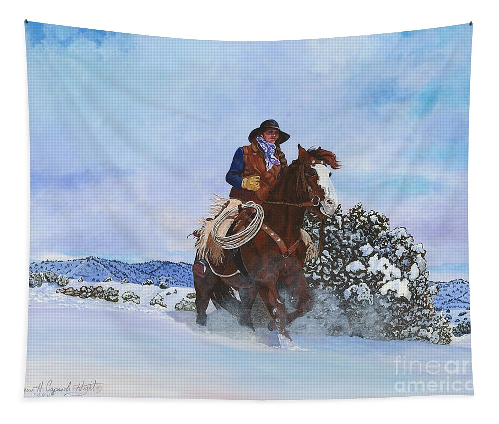 Snow Tapestry featuring the painting Homeward Bound by Maxine Caprioli-Hight