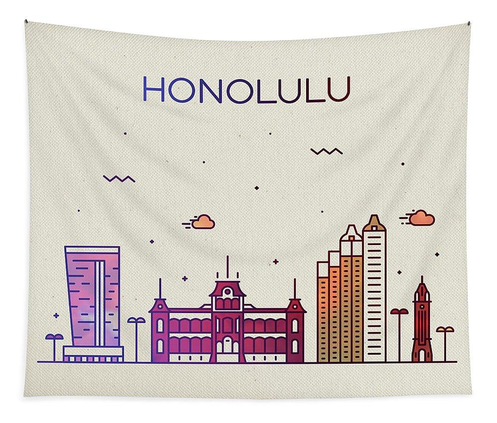 Honolulu Tapestry featuring the mixed media Honolulu Hawaii City Skyline Fun Whimsical Series Wide by Design Turnpike