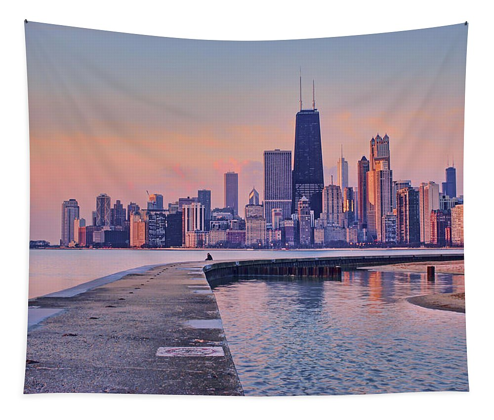 Hook Pier Tapestry featuring the photograph Hook Pier - North Avenue Beach - Chicago by Nikolyn McDonald