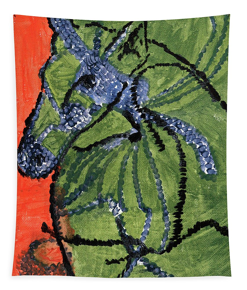 Horse Tapestry featuring the painting Horse On Orange And Green by Edgeworth DotBlog