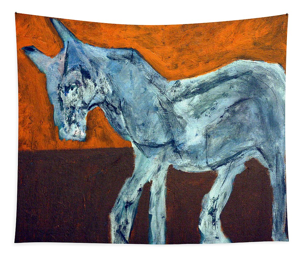 Horse Tapestry featuring the painting Horse On Orange by Edgeworth DotBlog