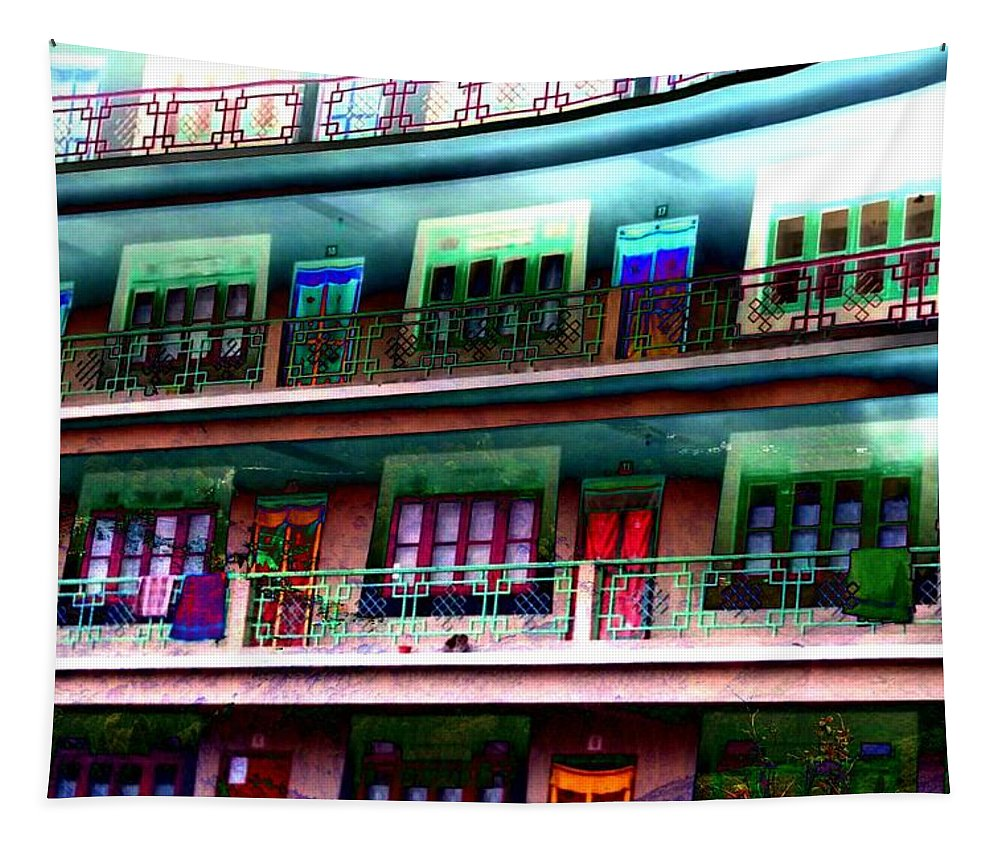Color Tapestry featuring the photograph Hostel by Nilu Mishra