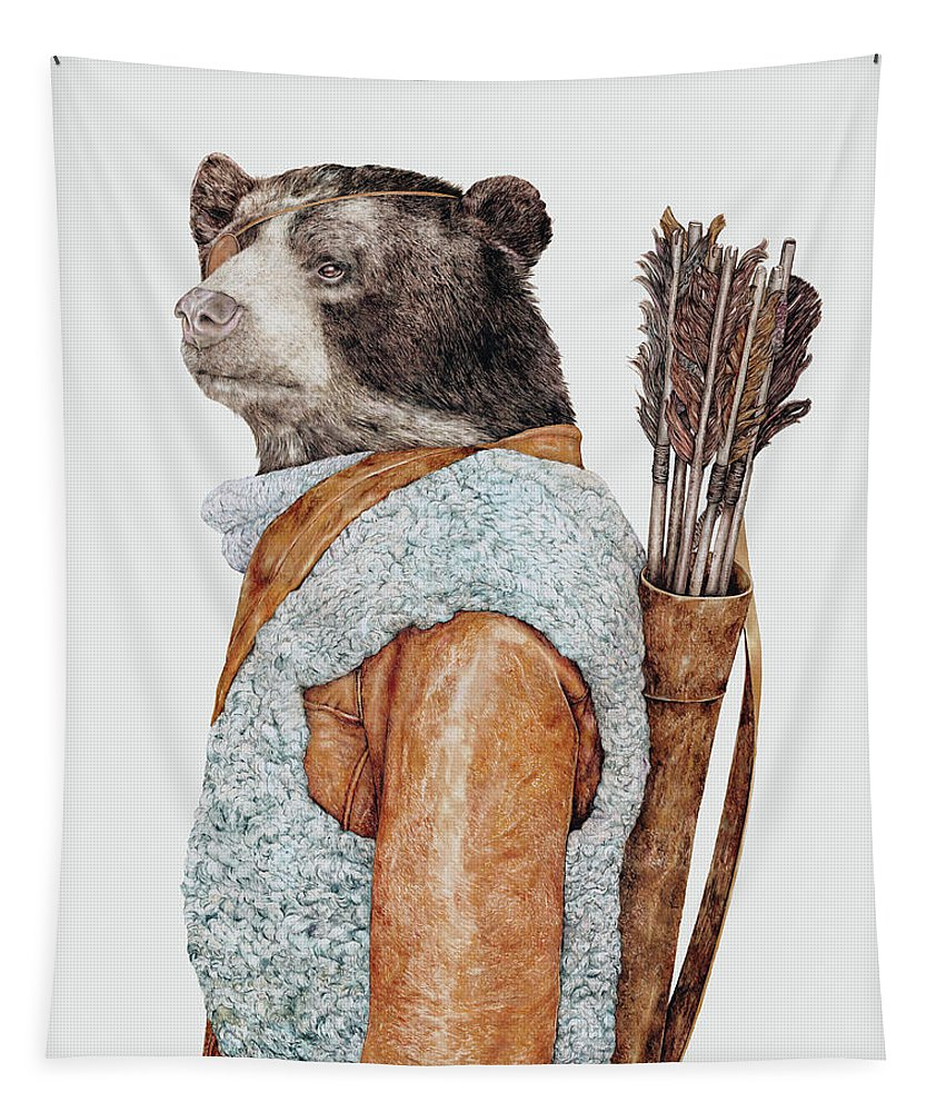 Animal Character Tapestry featuring the painting Hunter Bear by Animal Crew