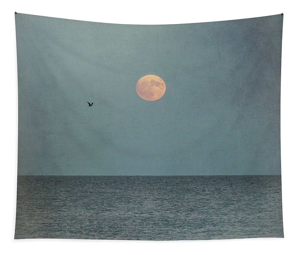 Terry D Photography Tapestry featuring the photograph Hunter's Moon Sea Square by Terry DeLuco