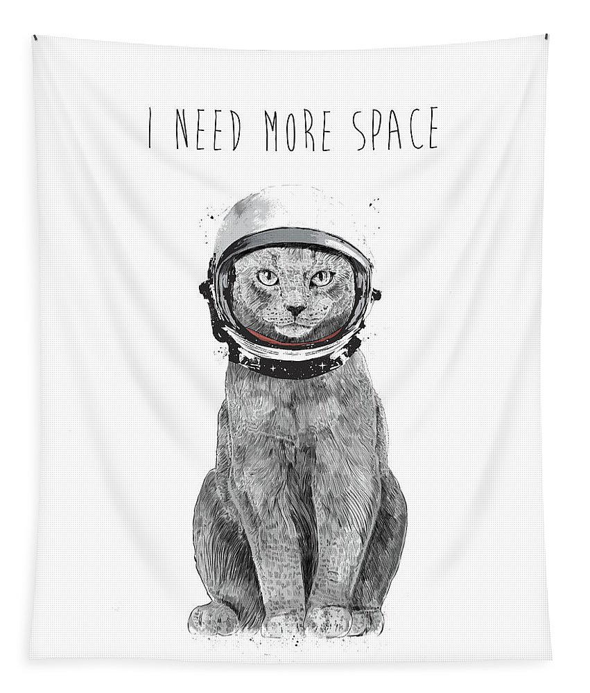 Cat Tapestry featuring the drawing I need more space by Balazs Solti