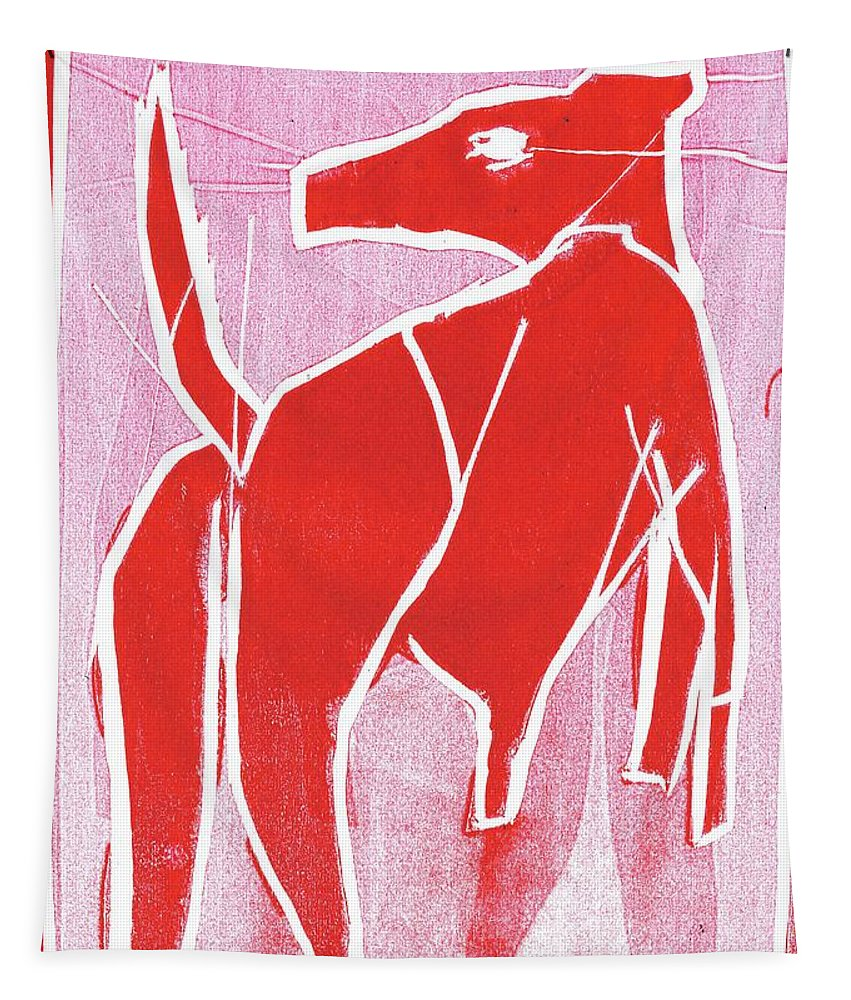 Dog Tapestry featuring the relief I Was Born In A Mine Red Dog 34 by Edgeworth DotBlog