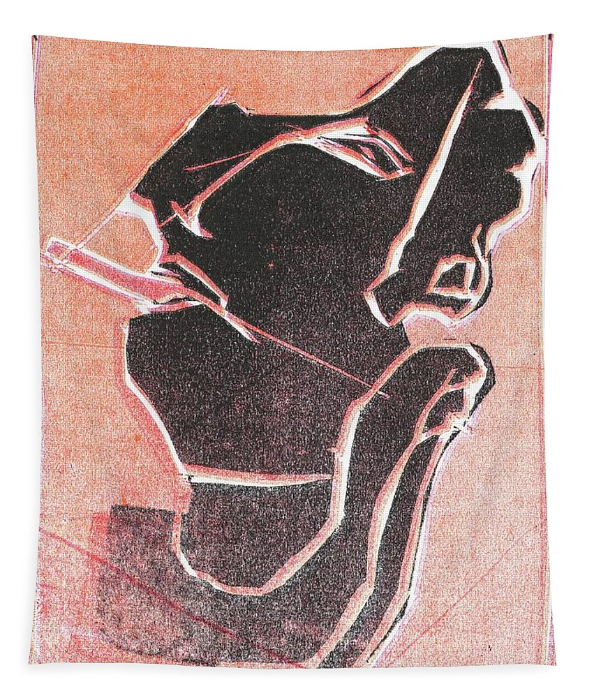 Woodcut Tapestry featuring the relief I Was Born In A Mine Woodcut 12 by Edgeworth DotBlog