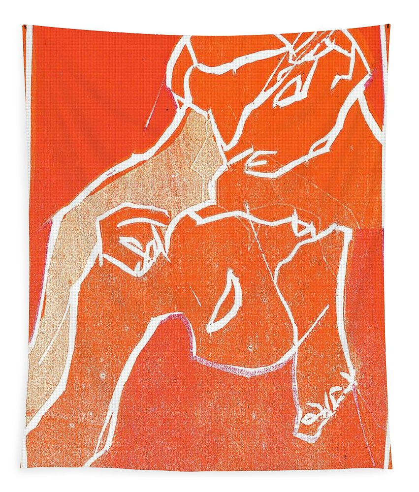 Woodcut Tapestry featuring the relief I Was Born In A Mine Woodcut 19 by Edgeworth DotBlog